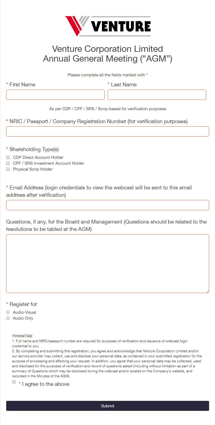 Virtual AGM shareholder registration process