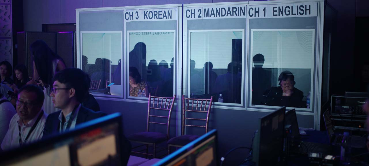 Multi-language live streaming real time translation booth with interpreters